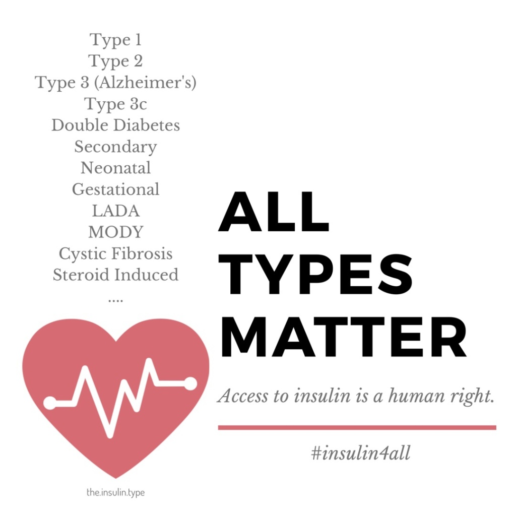 Image listing all types of diabetes, type 1, type 2, type 3 (Alzheimer's), Type 3c, Double Diabetes, Secondary, Neonatal, Gestational, LADA, MODY, Cystic Fibrosis, Steroid Induced. All types matter. Access to insulin is a human right.